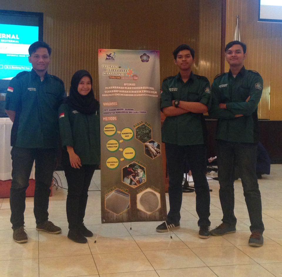 Tim PKM-PE Teknik Kimia Lolos Peserta Pekan Ilmiah Mahasiswa Nasional (PIMNAS) ke-30 Tahun 2017