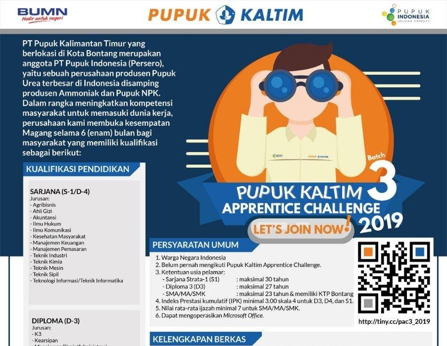 LOKER: Penawaran Magang menjadi Apprentice Challenge di PT. Pupuk Kaltim (Deadline 12 Juni 2019)