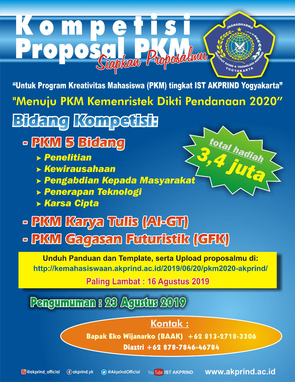 PENGUMUMAN: Kompetisi Internal Program Kreativitas Mahasiswa (PKM) 2019