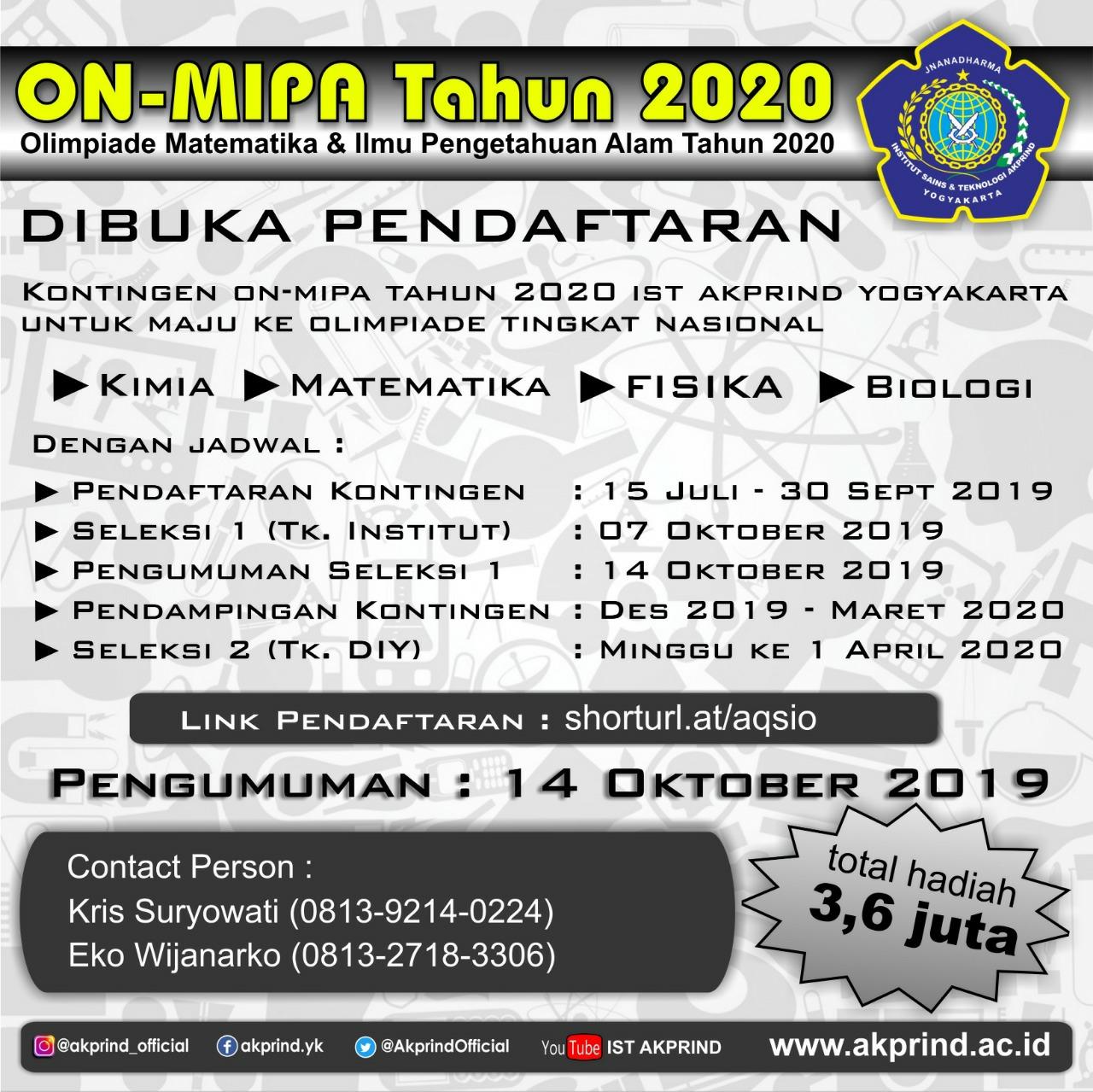 PENGUMUMAN: Seleksi ON-MIPA 2020 Telah Dibuka