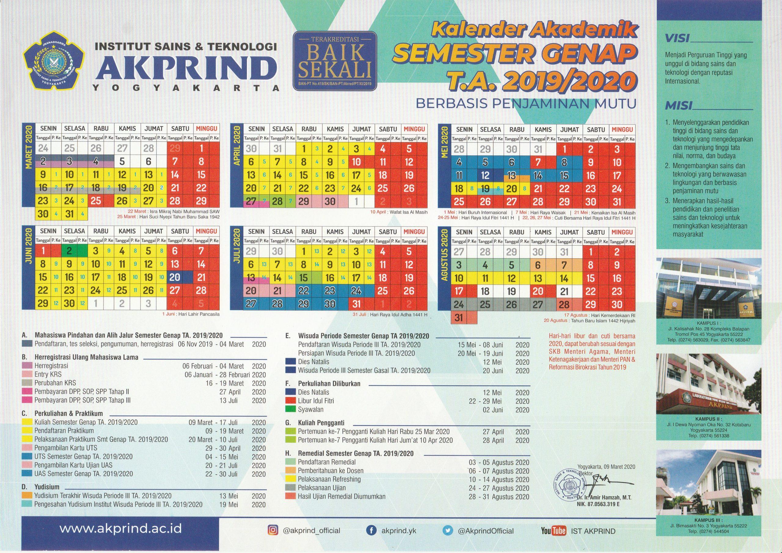 PENGUMUMAN: Kalender Akademik Semester Genap 2019/2020