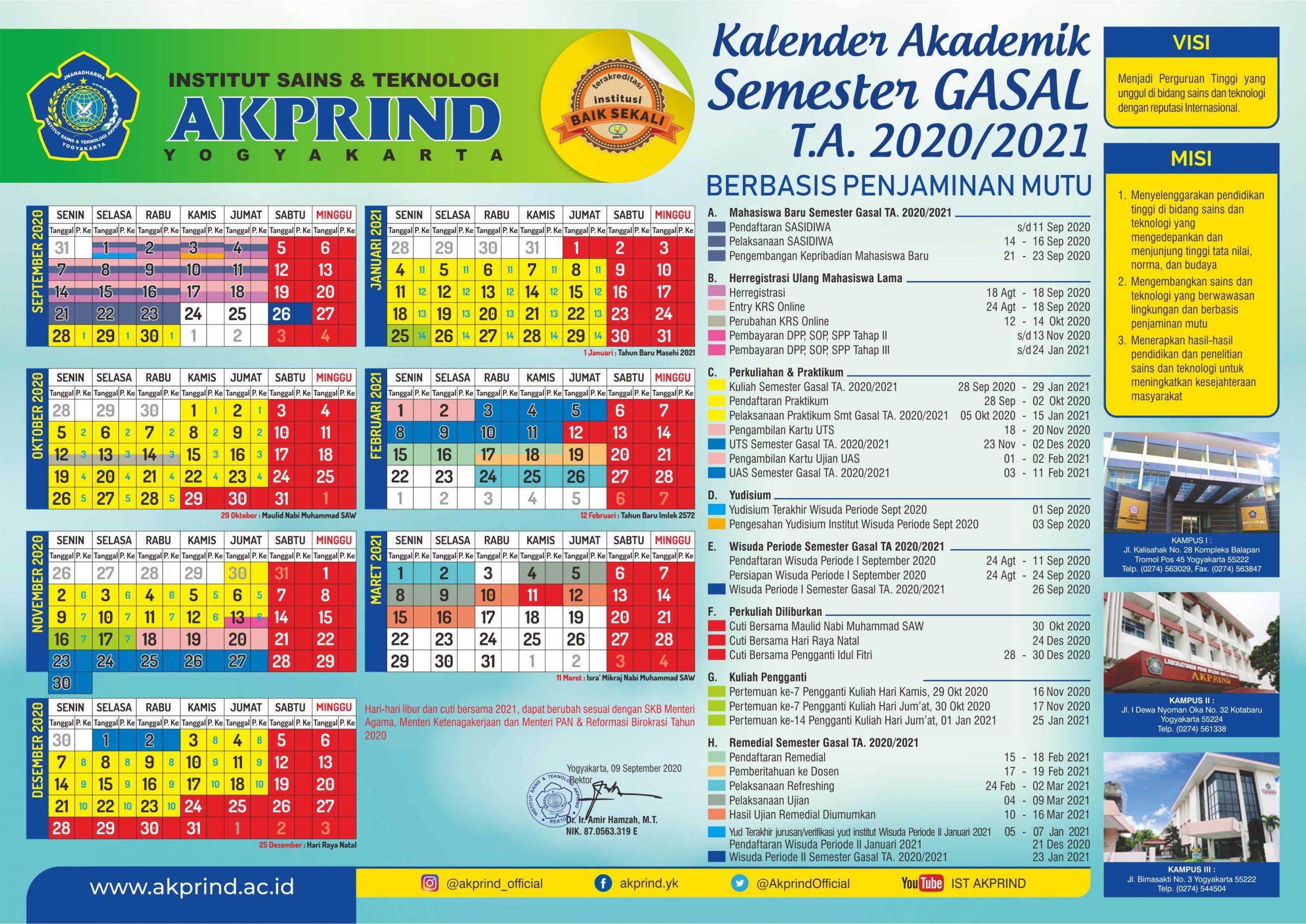 Kalender Akademik Semester Gasal Tahun 2020/2021
