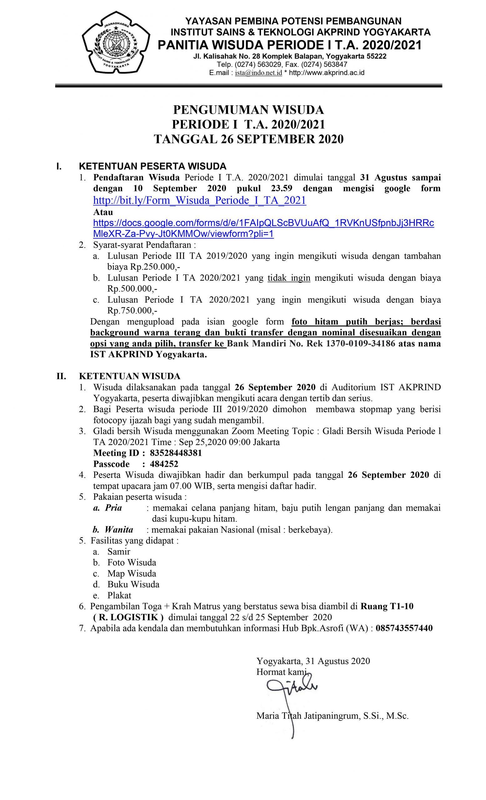 PENGUMUMAN: Wisuda Periode I (September Tahun Akademik 2020/2021)