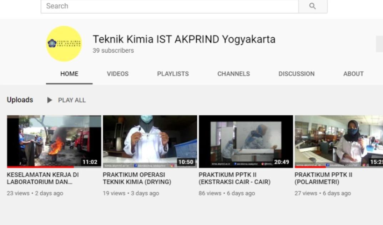 Channel Youtube Resmi Teknik Kimia IST AKPRIND Yogyakarta